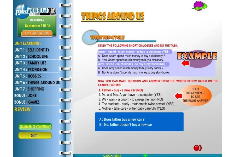 CD Pelajaran BAHASA INGGRIS kelas 7 SMP